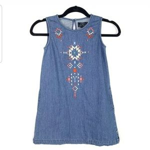 Lucky Brand Girls 6x Chambray Embroidered Tribal
